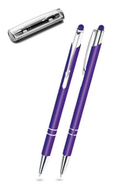 Kugelschreiber LEONI in violett inkl. individueller Gravur - mit Geschenkverpackung