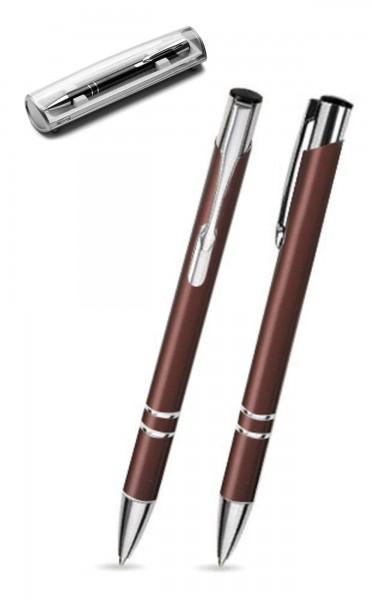 Kugelschreiber LIBO in braun inkl. individueller Gravur - mit Geschenkverpackung