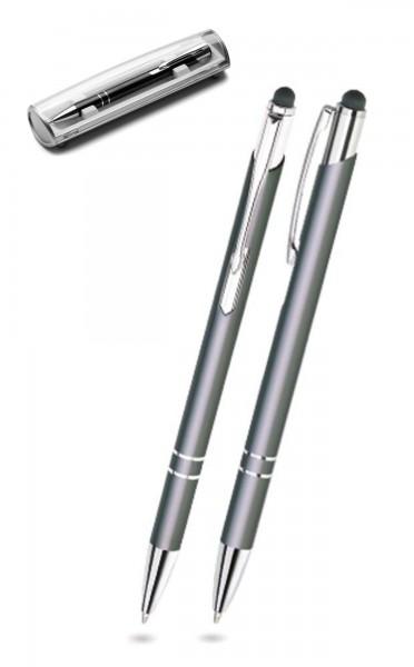 Kugelschreiber LEONI in grau inkl. individueller Gravur - mit Geschenkverpackung