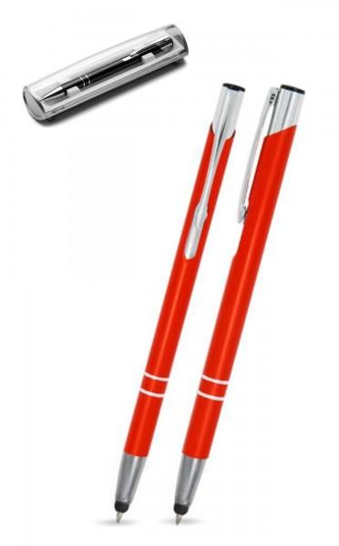 Kugelschreiber LIBO slim touch in orange inkl. individueller Gravur - mit Geschenkverpackung