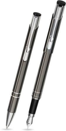 2er Set LIBO - Kugelschreiber & Füllfederhalter - Farbe: anthrazit - Schreibset im silbernen Etui -