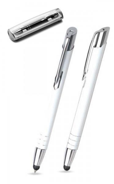 Kugelschreiber LEILA touch in weiß inkl. individueller Gravur - mit Geschenkverpackung