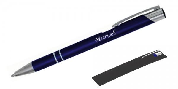 Kugelschreiber LIBO in navy blau inkl. individueller Gravur - in Samthülle