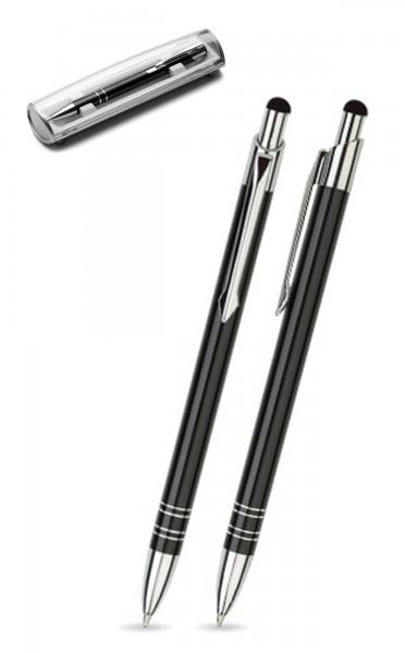 Kugelschreiber LOLA touch in schwarz inkl. individueller Gravur - mit Geschenkverpackung