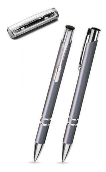 Kugelschreiber LIBO in grau inkl. individueller Gravur - mit Geschenkverpackung