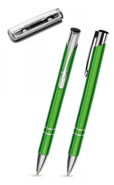 Kugelschreiber LIBO in hellgrün inkl. individueller Gravur - mit Geschenkverpackung